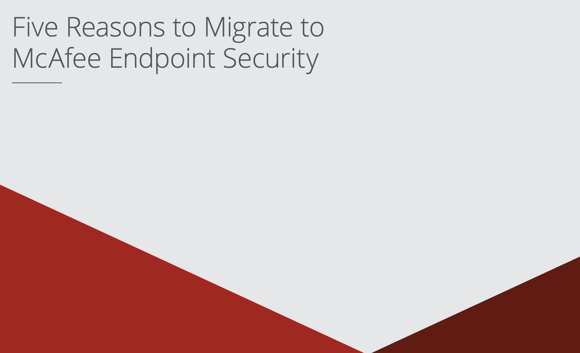 5 reasons to migrate to McAfee cover