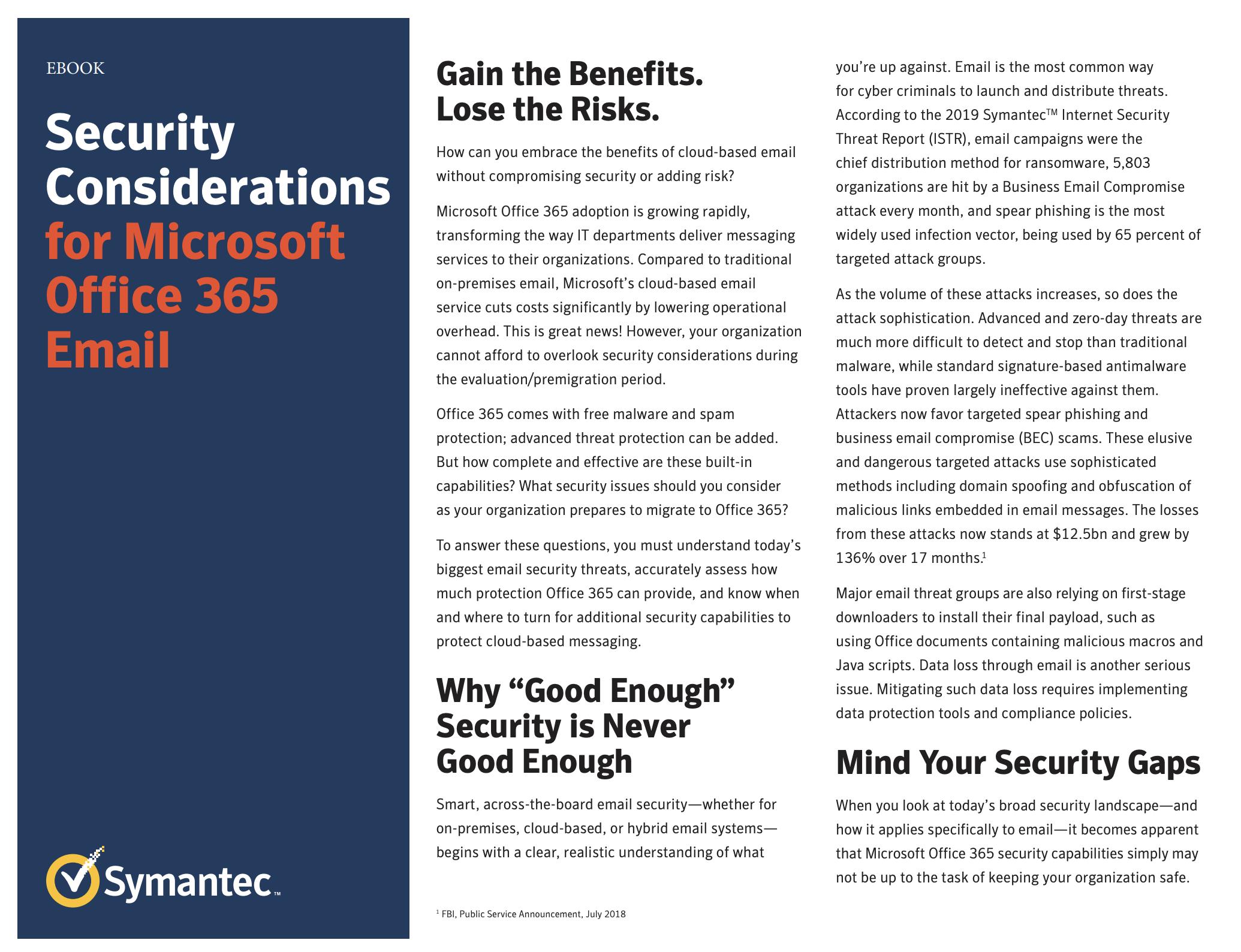 Symantec email threats eBook cover
