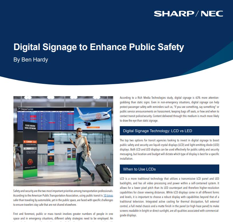 Digital Signage to Enhance Public Safety